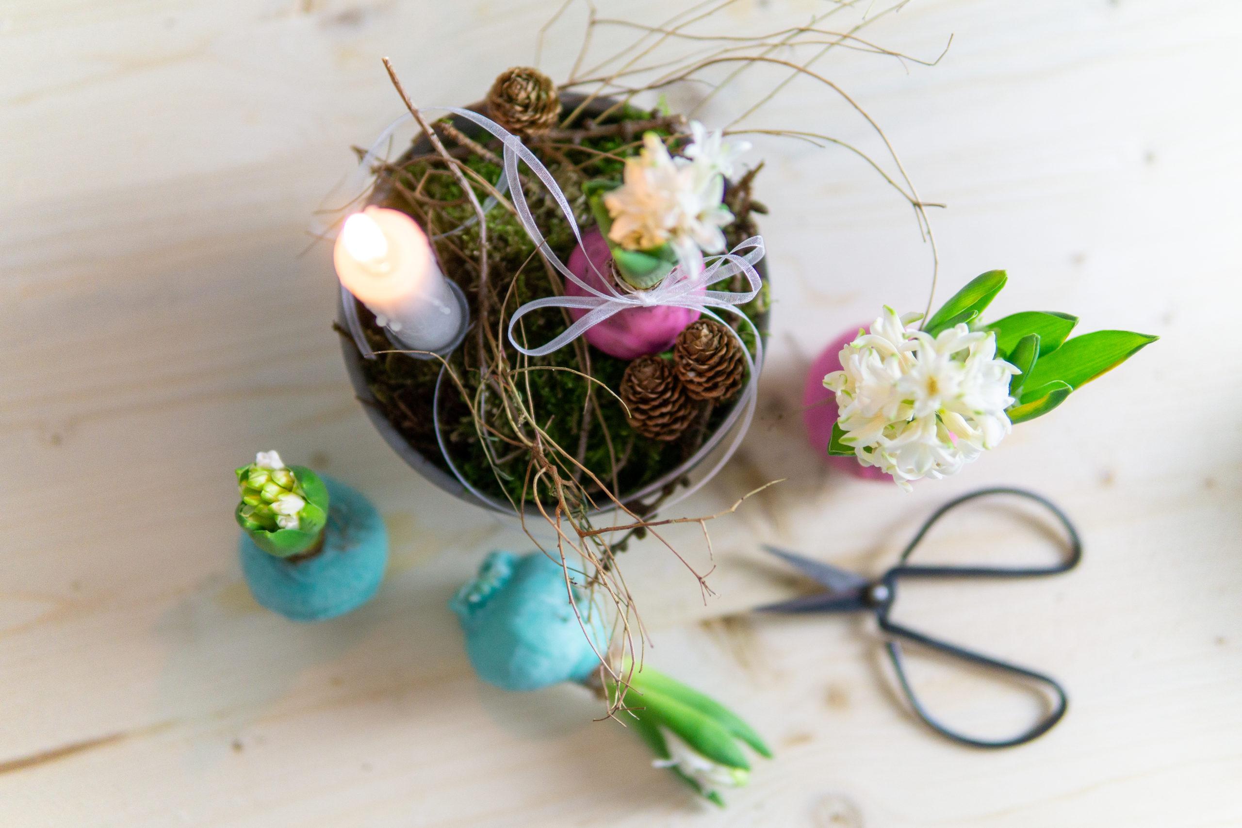 DIY Winterdeko: Hyazinthe im Wachs