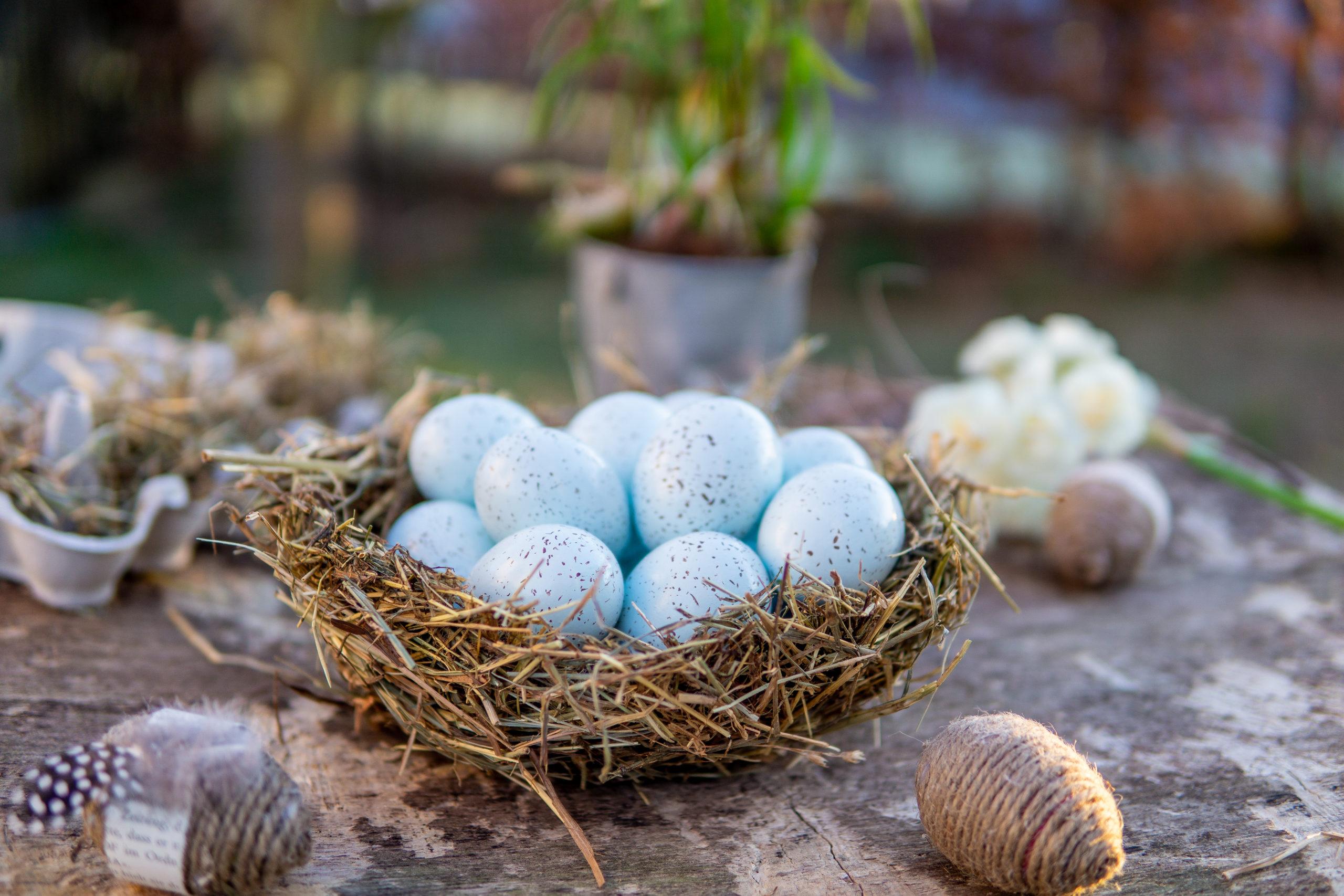 Osterkörbchen aus Heu selber machen